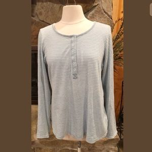 Splendid Henley Shirt XL Striped Blue White #240